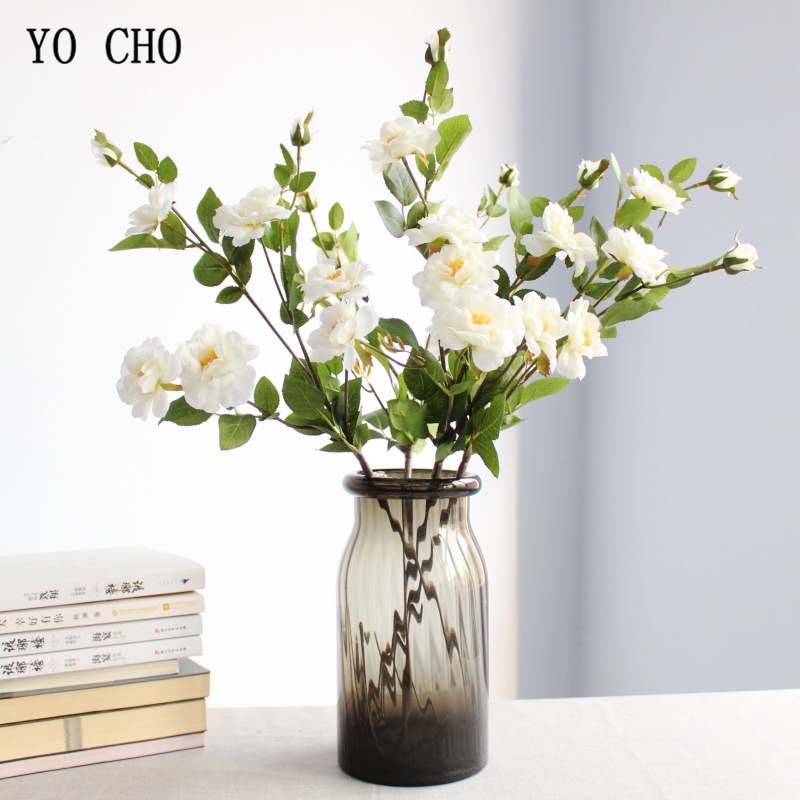 YO CHO Artificial Chinese Rose Flower Branch Home Wedding Party Birthday Valentine Fake Floral Decor Silk Vase Flower Arrangment