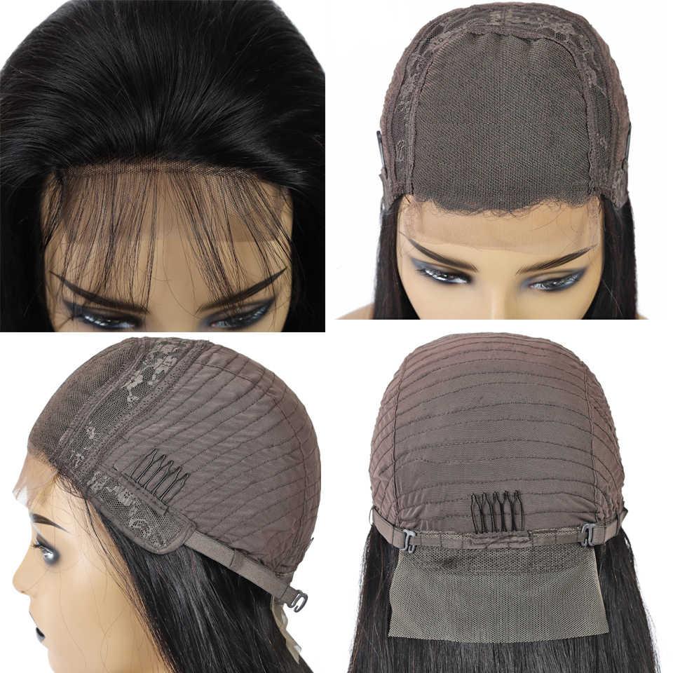 T1b/30 Madu Pirang Ombre Rambut Manusia Wig 4X4 Renda Penutupan Wig Brasil Lurus Rambut Manusia Wig untuk Wanita Tidak Remy 150% Kepadatan