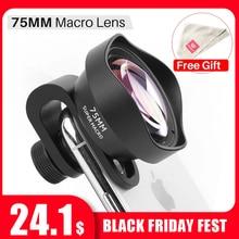 Ulanzi 75mm lente macro para iphone 7/8/x/xs/11 pro max/12 mini pro max samsung s8/s9/s10/note 10 plus huawei universal telefone lente