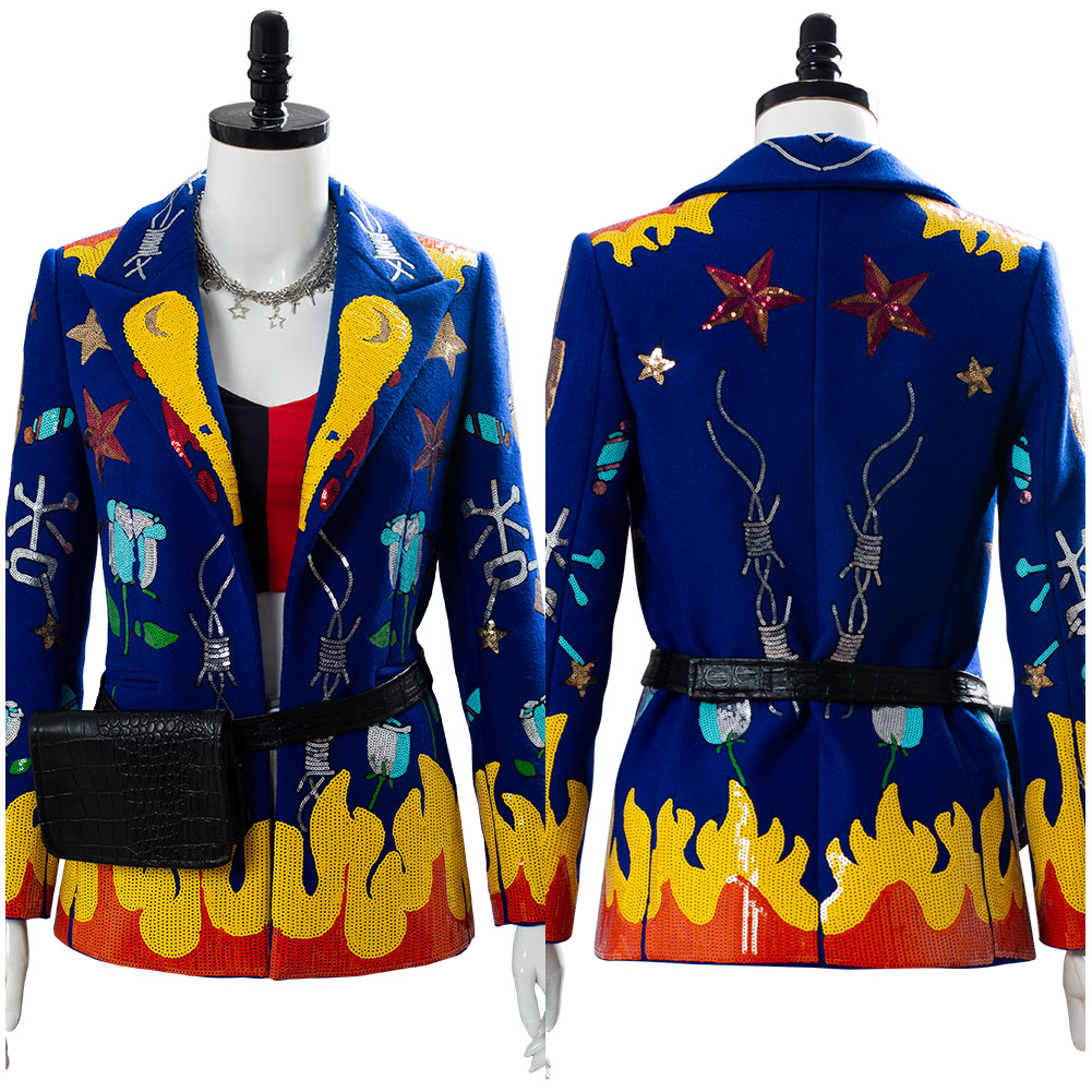 Harley Quinn Birds Of Prey Cosplay Costume Blazer Jacket Coat Suit Only Sequins/Bead Version