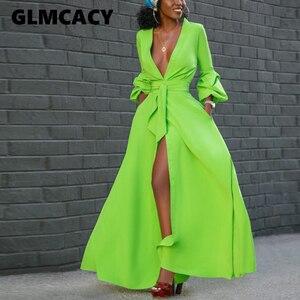 Женское однотонное платье-рубашка с длинным рукавом и v-образным вырезом, Стильная современная офисная одежда для работы, сексуальные элега...