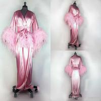 Pink 2020 Feather Women Robe Long Sleeve Sexy Nightgown Deep V Neck Ruffles Sleepwear Bathrobe Pajamas Prom Bridesmaid Shawel