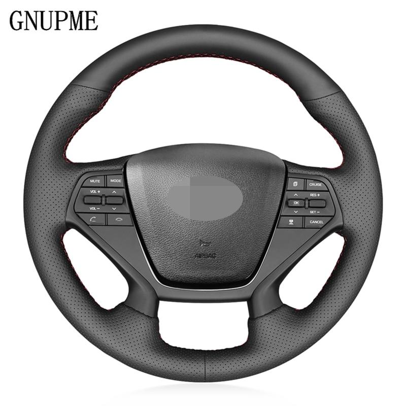 DIY Black Artificial Leather Steering Wheel Cover for Hyundai Sonata 9 2015-2017