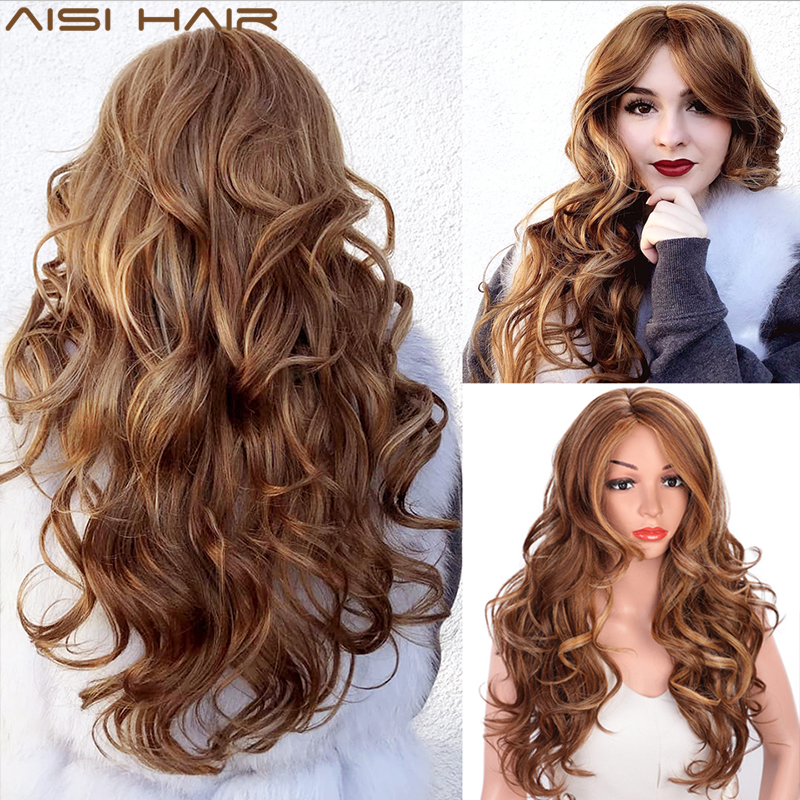 AISI HAIR Long Wavy Natural Hair Wig Mixed Dark Brown Synthetic Wigs For Black Women Side Part Blonde Wigs Heat Resistant Fiber
