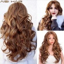AISI HAIR perruque synthétique mixte longue ondulée brune foncée Blonde avec raie latérale pour femmes noires, perruque en Fiber résistante à la chaleur