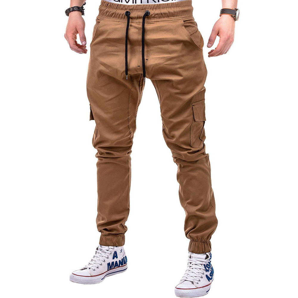 Cross Border Hot Selling 2018 New Style Men Cool Solid Color Side Pocket With Drawstring Belt Medium Waist Casual Pants Tight