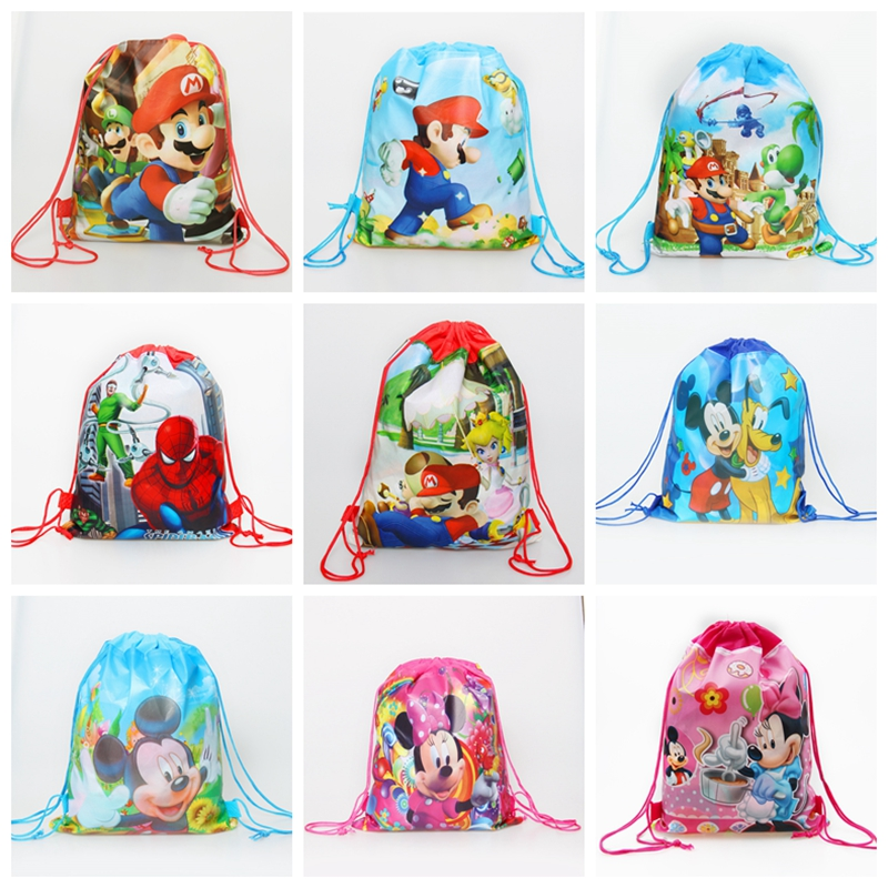 Baby Shower Gifts-Bags Favors Drawstring Super-Mario-Backpack Birthday-Party Decorate