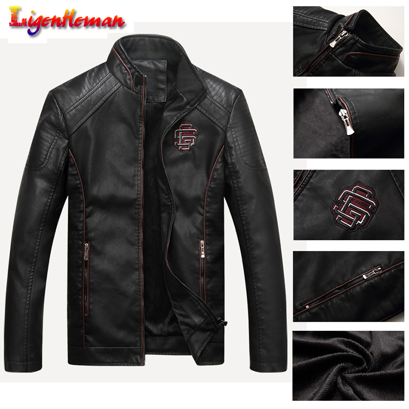 Autumn Winter Male Bomber Jackets Male Faux Leather Coat Fitness Motorcycle Coat PU Leather Men's Casual Leather Suede Jacket