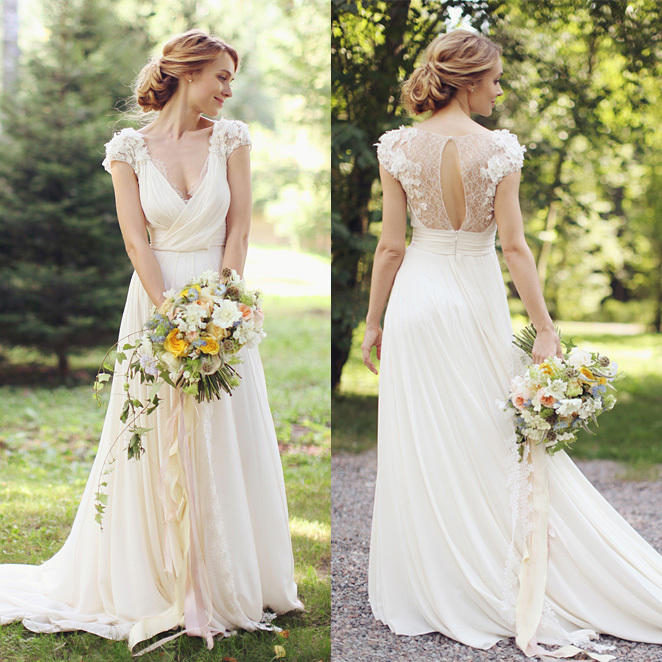 2018 New Fashion Cap Sleeve V-neck A-line Lace Chiffon Long Bohemian Wedding Beach Sexy Vestidos De Novia Mother Of Bride Dress