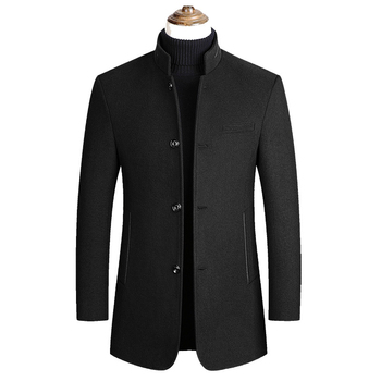 Winter Coats for MenJackets Men Stand Collar Men Wool Blends Coats Winter New Solid Color High Quality Men's Wool Jackets M-4XL цена 2017