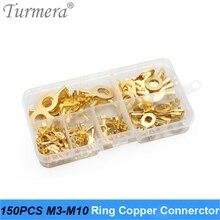 150 Stuks M3 M4 M5 M6 M8 M10 Ring Lugs Ring Copper Crimp Terminal Kabelschoen Draad Connector Niet ge geïsoleerde Assortiment Kits Turmera