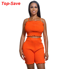 2019 Summer Outfits For Women 2 Piece Set Solid Casual Backless Pleated Sexy Nightclub Party Neon Two Pieces Sets Drop Shipping(China)