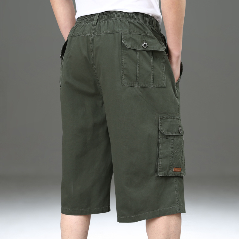 NIANJEEP Summer Shorts Men's Extra Large Men's Trousers Lard-bucket Casual Pants Multi-pockets Workwear Large Size Loose-Fit Cap