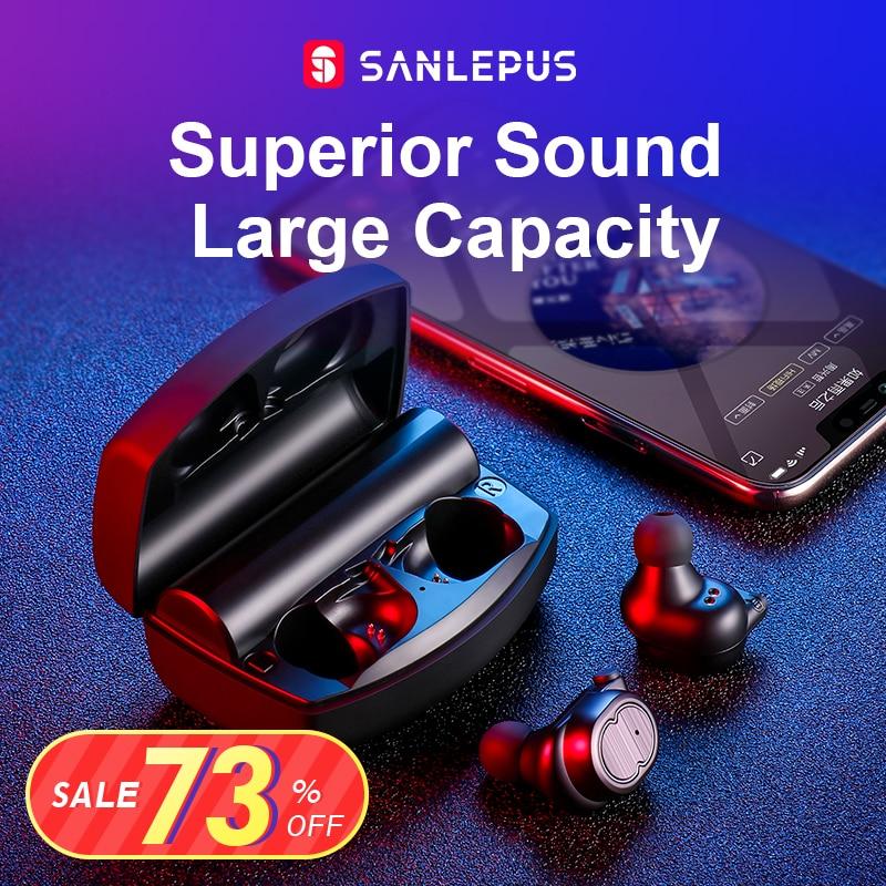 SANLEPUS Bluetooth Earphones True Wireless Earbuds TWS 5 0 Sports Earphones Stereo Bass Headset Noise Cancelling
