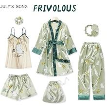 JULYS SONG Women 7 Pieces Pajamas Sets Green Cute Emulation Silk Printed  Women Sleepwear Sets Spring Summer Autumn Homewear