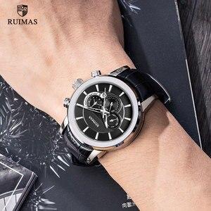 Image 4 - RUIMAS Automatic Military Watches Waterproof Sports Wristwatch Leather Strap Mechanical Watch Man Relogios Masculino Clock 6767