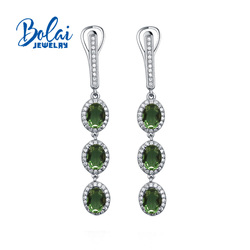 Bolaijewelry,Zultanite earrings 925 sterling silver oval 5*7mm created color change gemstone fine jewelry top gift for