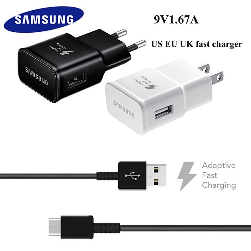 Original samsung carregador rápido 15 w adaptador de parede da ue & micro usb data cabo linha para a10 a5 a6 a7 a8 2016 2018 s7 s6 borda j5 j6 c5