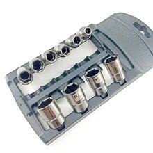 Nickel-Sae Socket-Set Plastic-Rack 10pcs And Black CRV with Anti-Theft 3/8inch-Drive