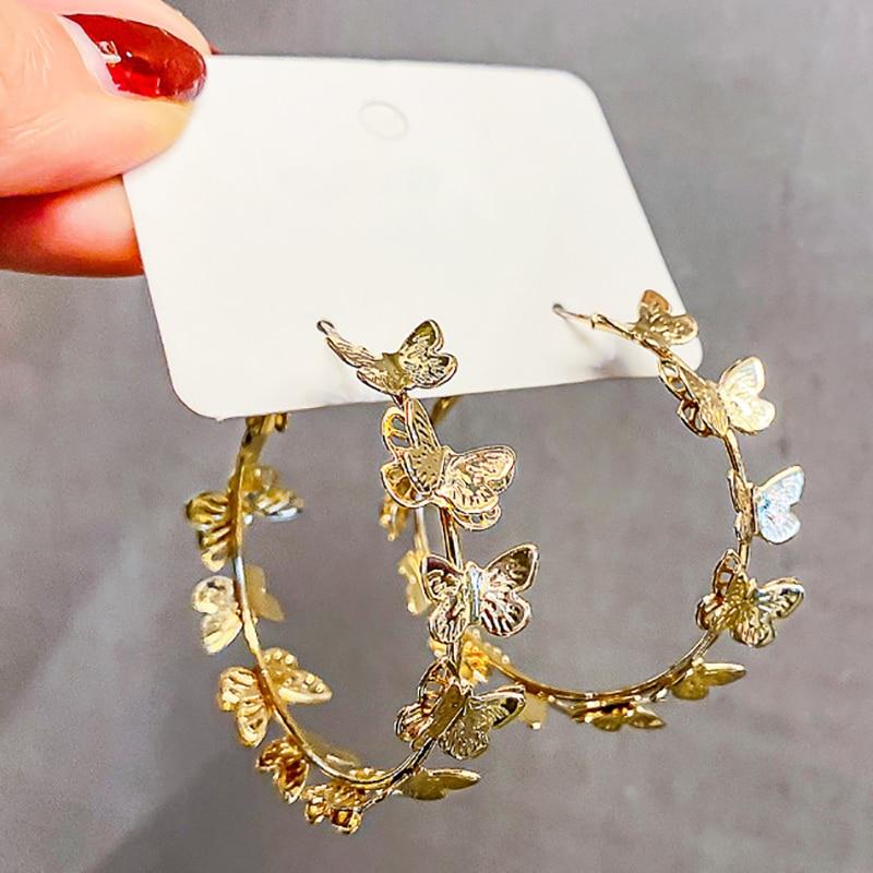 Butterfly Big Hoop Earring Crystal Circle Earrings for Women Girls Rhinestone Round Earring Jewelry  Valentine's Day Gift