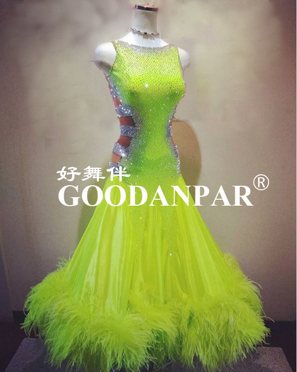 NEW Ballroom Dance Competition Dresses Modern Waltz Tango Dance Dress Ostrich Feather Dress Lemon Color  Sleeveless