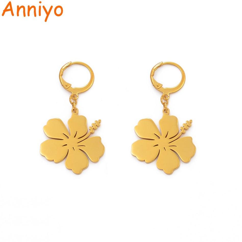 Anniyo Flower Earrings For Women Girls Hibiscus Earrings Guam Hawaii Flower Jewelry Kiribati Earing Micronesia Chuuk