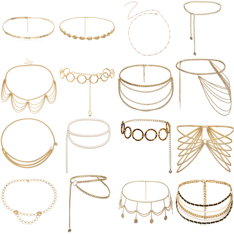 BLA Fashion Women's Chain Belt Waistband Wild Belt Chains Gold Silver Color Multilayer Long Chains Belts Party Dress Body Chain