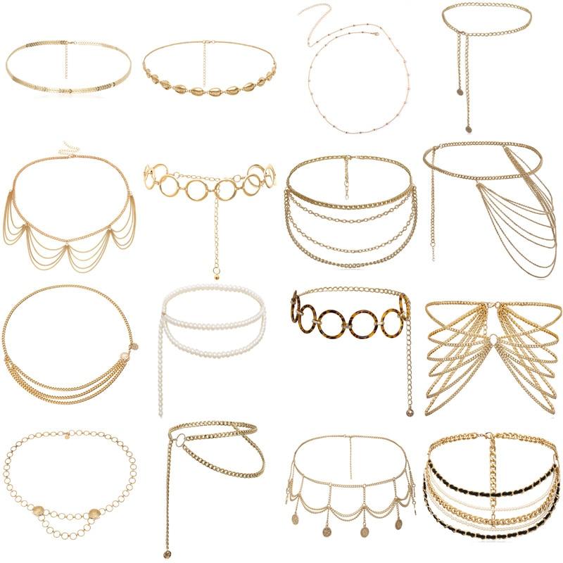 BLA Fashion Women's Chain Belt Waistband Wild Belt Chains Gold Silver Multilayer Long Chains Belts Party Dress Body Chain