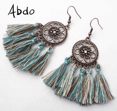 New 30 Colors New Bohemian Retro Long Tassel Earrings Vintage Exaggerated Dangle Earrings For Women Statement fashion Jewelry