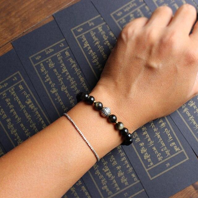 8mm Golden Obsidian With Om Mani Padme Hum Sign Tibetan Buddism Totem Sign Charm Bracelet Handmade Original Design Jewerly