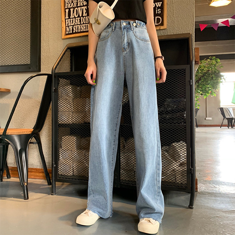 Jeans Women's 2019 Summer New Style Loose-Fit Slimming High-waisted Wide-Leg Straight-leg Pants Trousers Mopping Fashion