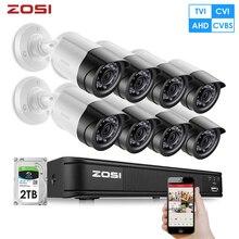 ZOSI HD 2MP Video Surveillance CCTV System 8CH Full HD 1080P HD TVI DVR Kit 8*1080P Outdoor Security Camera System