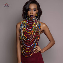 2020 Ankara Beautiful Multi Strand Necklace African Bold Colorful Long Exotic Jewelry Anfrica Handmade Necklaces WYB181