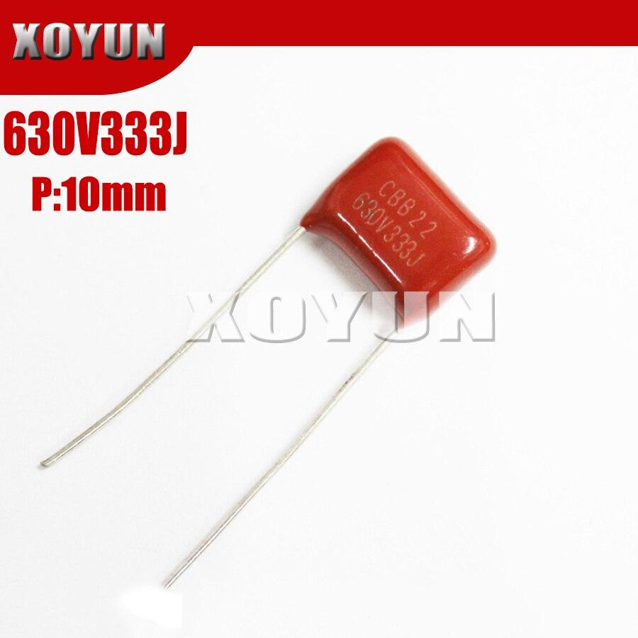 10PCS 630V333J 333J630V Pitch 10MM 630V 333J 33NF CBB Polypropylene Film Capacitor