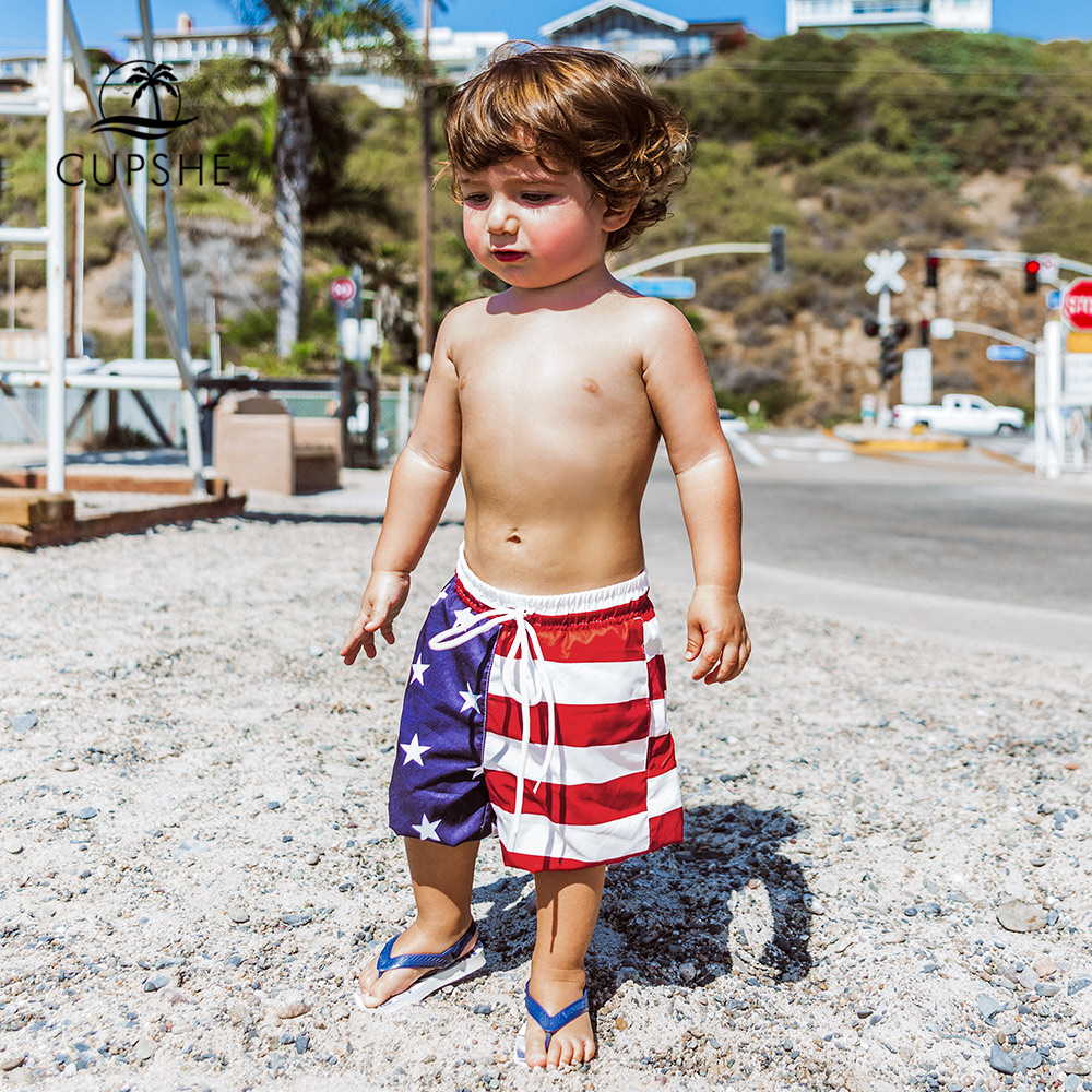 CUPSHE American Flag Print Boys Swim Trunks Swimsuit For Toddler Boys 2020 Summer Children Kids Board Shorts 2-13 Years