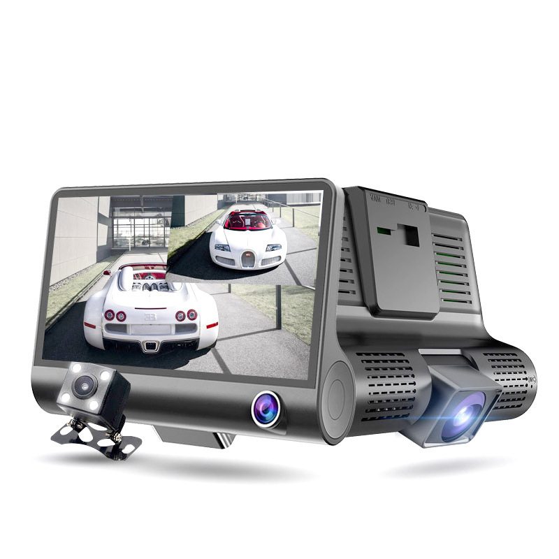 <font><b>Car</b></font> driving recorder Concealed three-record driving recorder HD 4 inch three lens <font><b>DVR</b></font> Dash camera double lens rear view mirror image