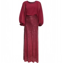 African-Dresses Women for Lace Sequins Round Neck-Sleeves