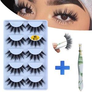 NEW 5 pairs Mink Eyelashes Set 3D 100% False Lashes Makeup Eyelash Extension faux cils Natural fluffy Volume Soft Fake Eye Lashe(China)