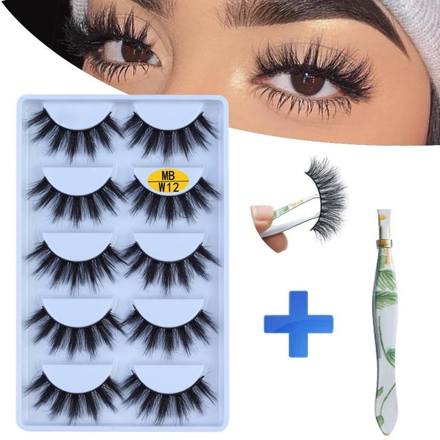 NEW 5 pairs Mink Eyelashes Set 3D 100% False Lashes Makeup Eyelash Extension faux cils Natural fluffy Volume Soft Fake Eye Lashe
