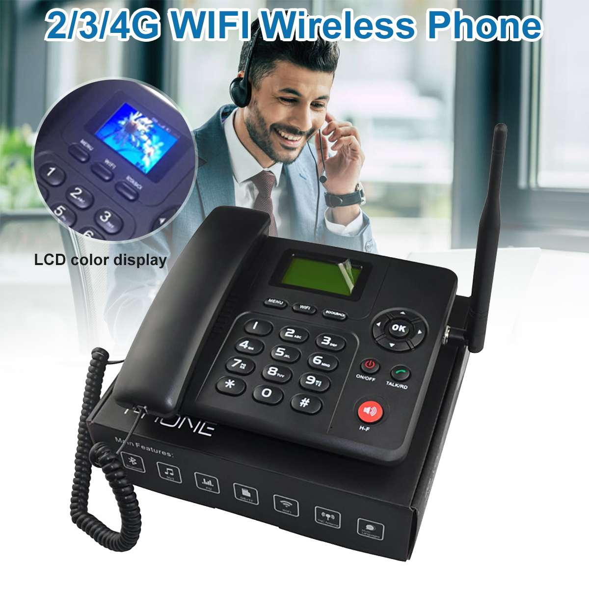 4G WIFI Wireless Fixed Phone Desktop Telephone GSM SIM Card LCD For Office Home Call Center Company Hotel EU/US/UK/AU Plug