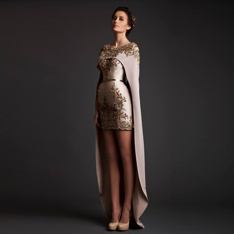 Krikor Jabotian 2018 Evening Dresses Satin Sheath Appliques Beads With Wrap Hi-Low Prom Evening Gown Mother Of The Bride Dresses