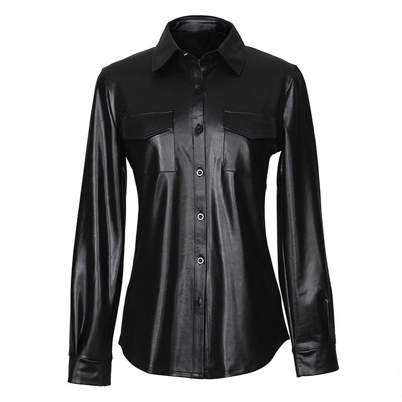 Nightclub Women's Sexy Women's PU Leather Long Sleeve Shirt Blouse Lady Fashion Striped Casual Top Shirt Elegant Business Shirts
