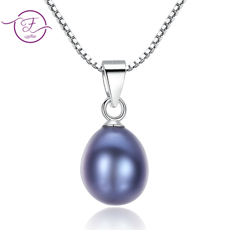 S925 Sterling Silver Freashwater Pearl Pendant Necklace Natural Pearls Wedding Necklace For Women Yellow Gold Fine Jewelry(China)