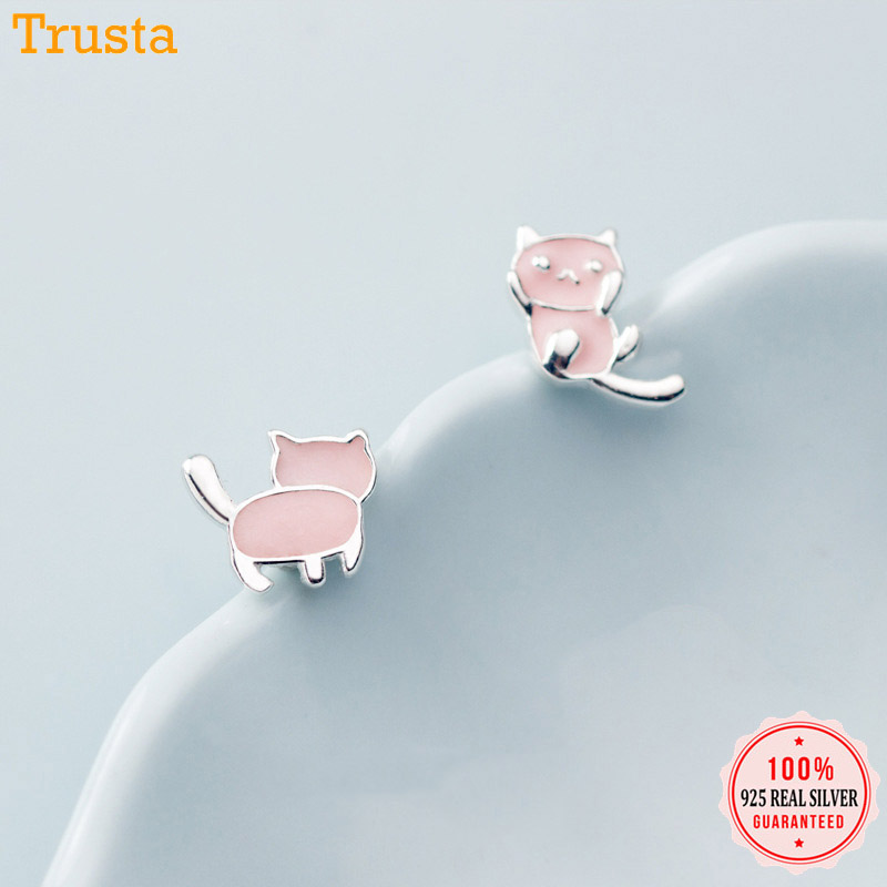 Trusta Genuine Fashion 925 Sterling Silver Sweet Asymmetrical Pink Kitten Kat Stud Earring For Women Wedding JewelryGift DA552