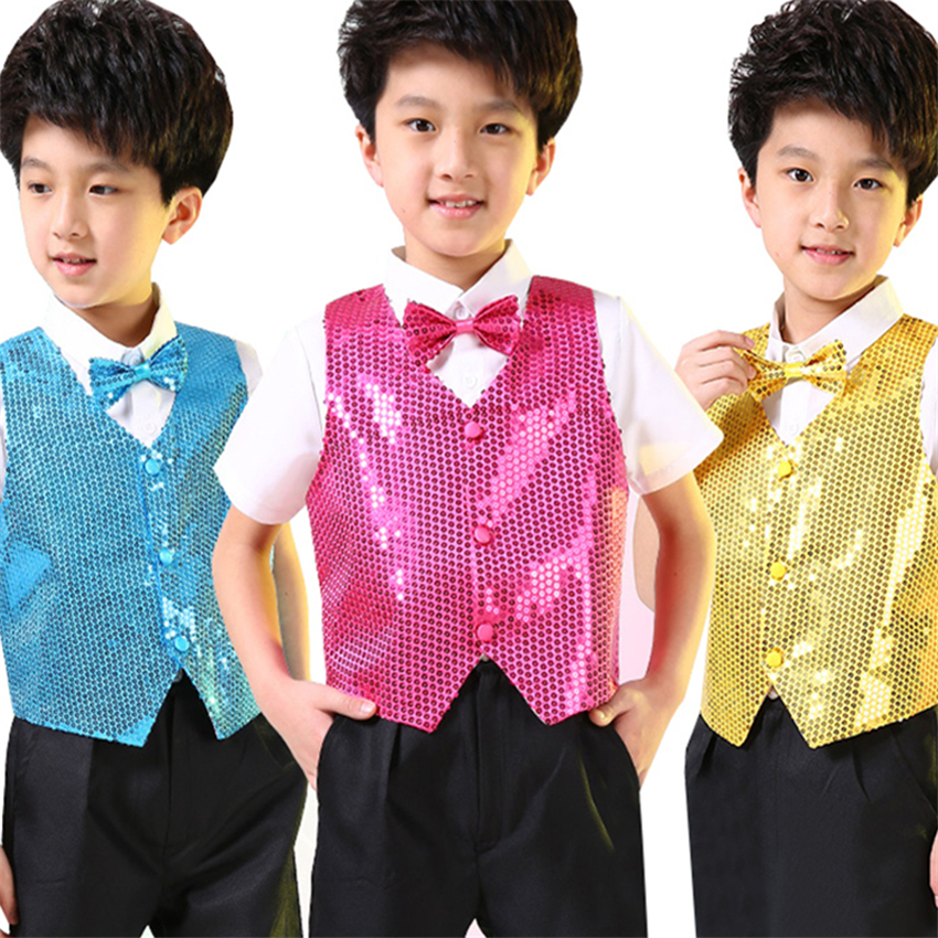 >7Color Kids Jazz Dance Vest Boys Sequin Tops Choir Shining <font><b>Outfit</b></font> Stage Performance Costume Hip-hop Sequined Dance Wear