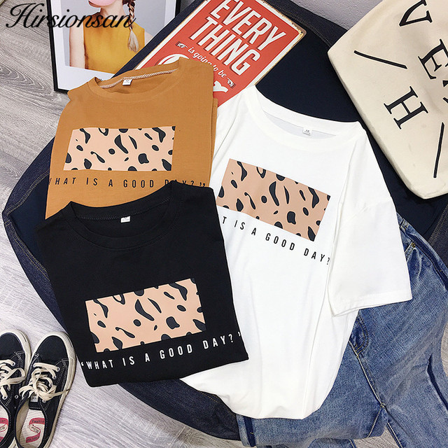 Hirsionsan Leopard Print T shirts Women 2019 Spring Summer Hot Tees Casual O-Neck Short Sleeve Harajuku Cool T-shirt Female Tops 2
