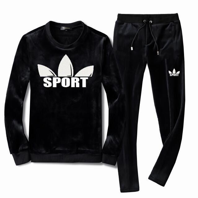 Men Crew Neck TrackSuit Sport Jacket Top Sweater Suit Trousers Velours Set