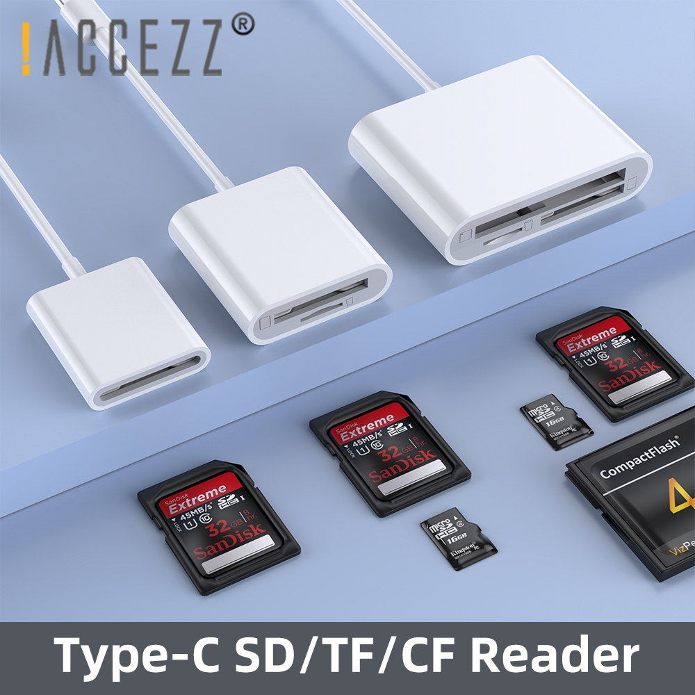 !ACCEZZ 3 In 1 TYPE-C Adapter TF SD CF Memory Card Reader OTG Writer Compact Flash For IPad Pro Huawei Macbook Type C Cardreader