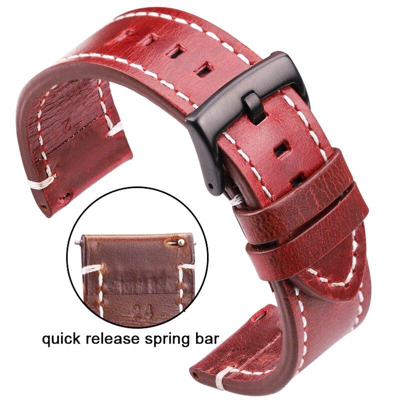 Pulseiras de relógio, pulseiras unissex de couro genuíno, costura à mão, vintage, 18 20 22 24mm de aço inoxidável