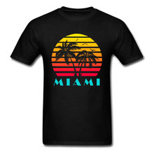 Summer Fashion Tshirt Mens American Miami 80s Sunset Scenery Graphic T Shirts For Adult Happy Beach Holiday T-Shirt Casual(China)